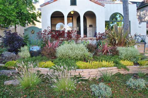 drought tolerant front yard mediterranean landscape