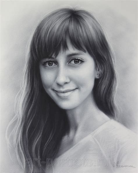 drawing of beautiful girl by dry brush by drawing