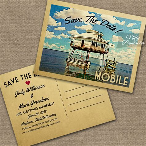 Alabama Wedding Invitations Printed by Mobile Alabama Save The Date Printed Nifty Printables