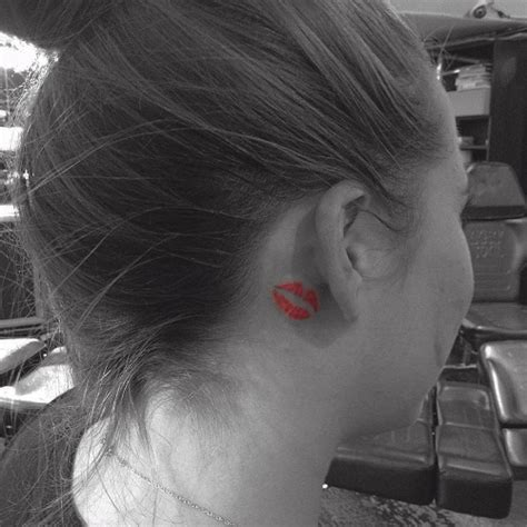 Lips Tattoo Behind Ear | kiss tattoos designs ideas and meaning tattoos for you