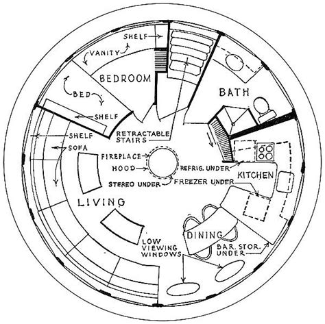 Futuro House Floor Plan | tiny house that looks like a ufo