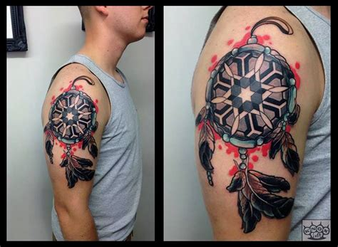 dreamcatcher tattoo half sleeve abstract dreamcatcher tattoo on half sleeve by marco knox
