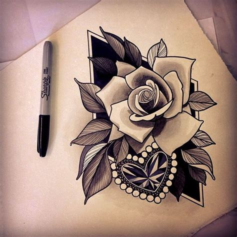 heart rose tattoo 34 best images on