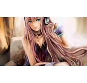 Cute Anime Girl Blue Eyes And Headphones  1920 X 1080 Download