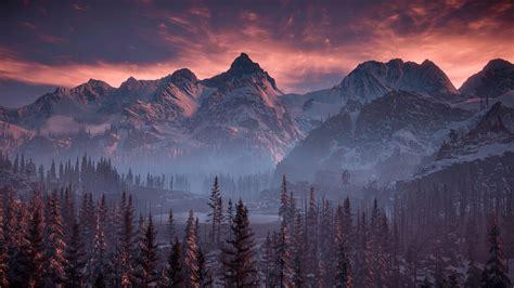 horizon  dawn nature mountains trees sky  hd games