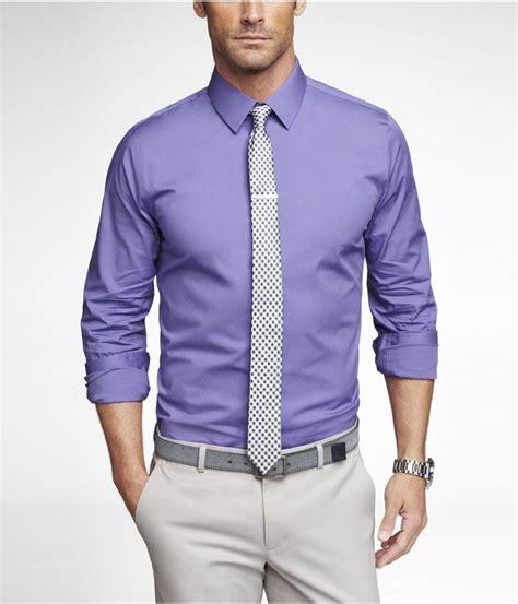 purple dress shirt black and white tie light grey pant