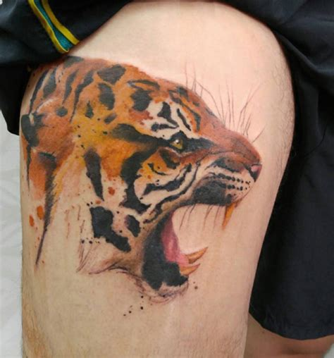 tiger thigh tattoo designs leopard hip portrait best design ideas