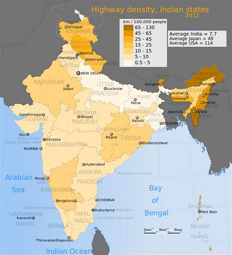 usa map km file 2012 india highway density map for its states and