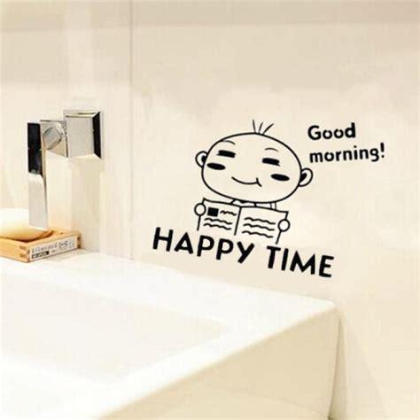 sticker bathroom buy waterproof happy time pattern toilet sticker bathroom