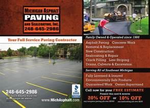 sealcoating business cards michigan asphalt paving
