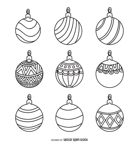 black and white printable christmas decorations christmas round ornament outlines set free vector