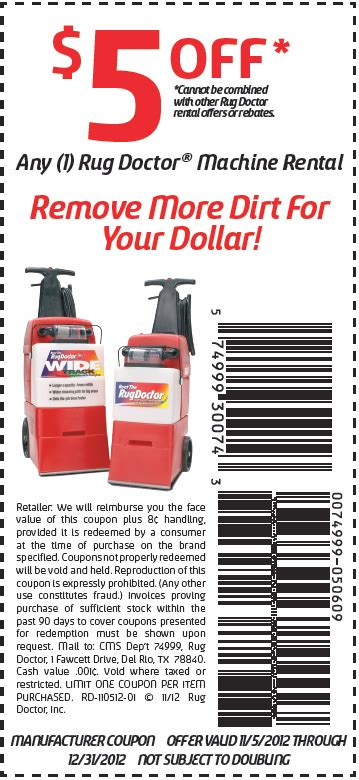 Rug Doctor Rental Coupon by Rug Doctor 5 Printable Coupon