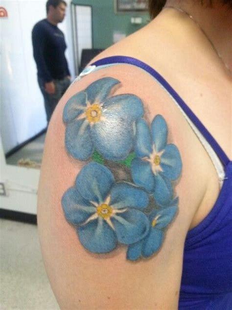 tattoo ink not taking forget me not flowers tattoo done by joy deherrera