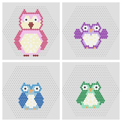 hama bead templates owl penguin free printable hama bead patterns