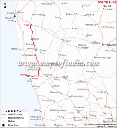 Goa to Pune Route Map