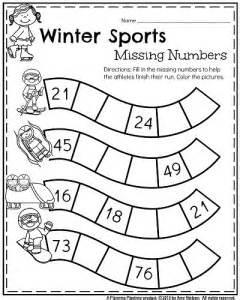 January kindergarten math worksheet winter sports missing numbers