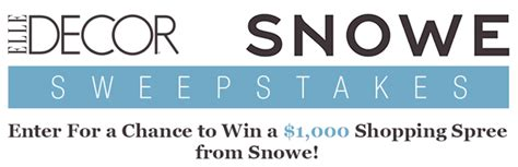Elle Magazine Sweepstakes - elledecor com snowehome win a 1 000 shopping spree from snowe