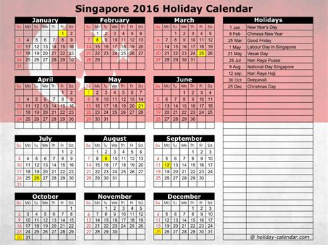 2016 monthly planner printable singapore 2016 calendar with holidays singapore calendar template 2016