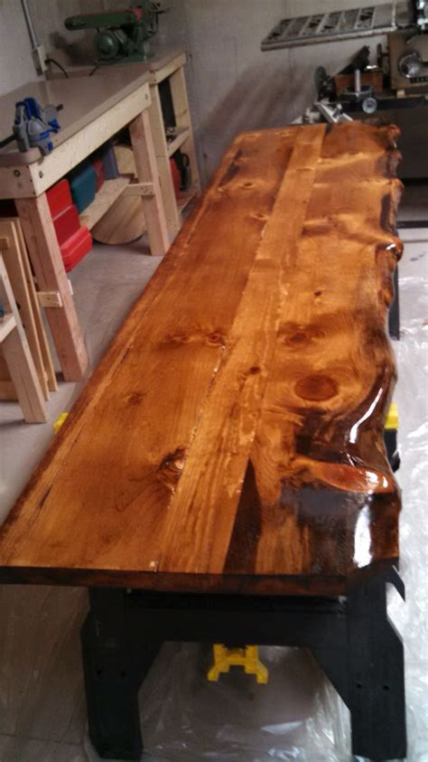 edge pine countertops  minwax honey stain log cabin ideas pinterest stains honey