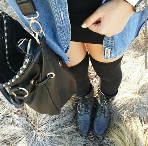 knee high socks we it black purse combat boots and denim shirt