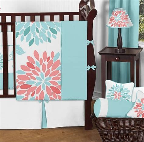 coral and turquoise baby bedding sweet jojo designs unique turquoise blue and coral emma baby girls 9 piece floral