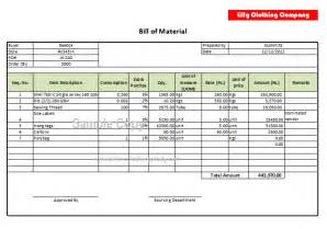 bill of material bom format online clothing study