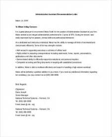 Reference Letter Administrative Assistant Sle Letter Of Recommendation 20 Free Documents
