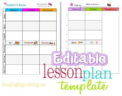 weekly lesson plan templates for teachers weekly planner template excel xlx format