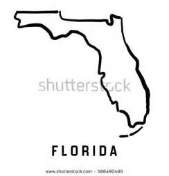 florida state map outline smooth simplified stock vector