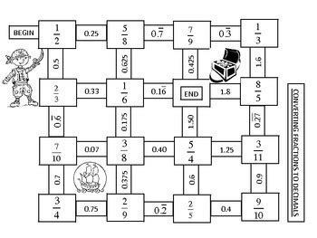 fractions converting fractions  decimals maze