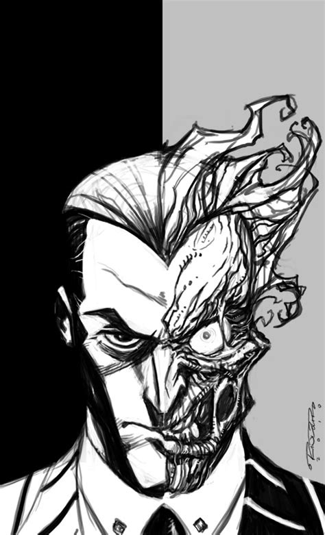 Sketch Two Face By Kharyrandolph On Deviantart Drawings Of Joker Faces 2