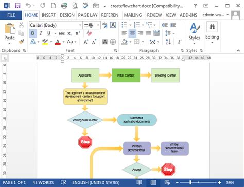 microsoft word flow chart template flowcharts in word