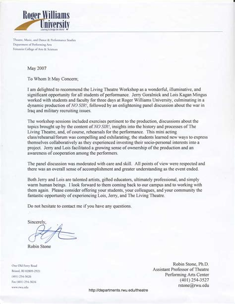 Boston College Letter Of Recommendation The Living Theatre Workshops Roger Williams