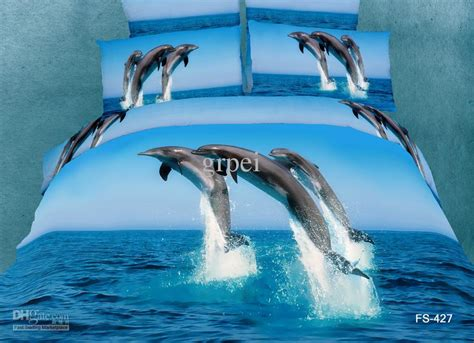 3d Aqua Blue Dolphin Bedding Comforter Set King Queen Size Dolphin Bed Sets