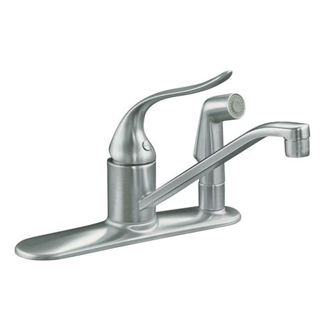 kohler single handle kitchen faucet kohler coralais low arc single handle standard kitchen faucet with side sprayer in brushed