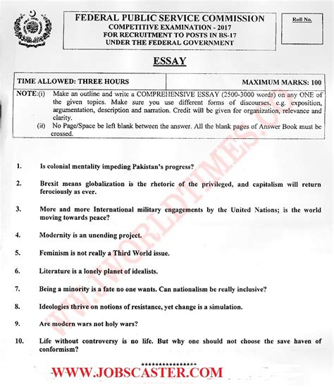Essay Paper by Css Essay Paper 2017