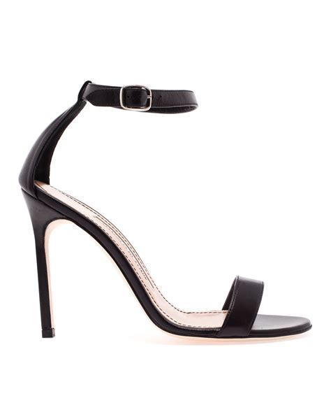 manolo blahnik sandals lyst manolo blahnik chaos leather sandals in black