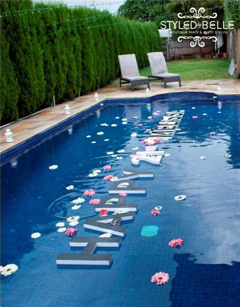 swimming pool decoration letters flowers creative