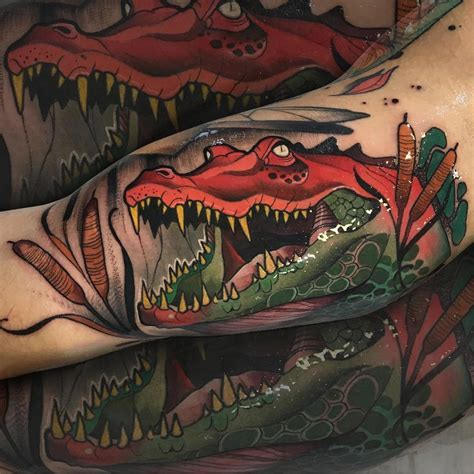 neotraditional tattoo crocodile arm neo traditional style best