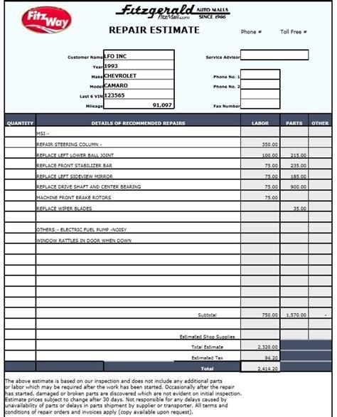 9 Free Sle Auto Repair Quotation Templates Printable Sles Auto Repair Estimate Template