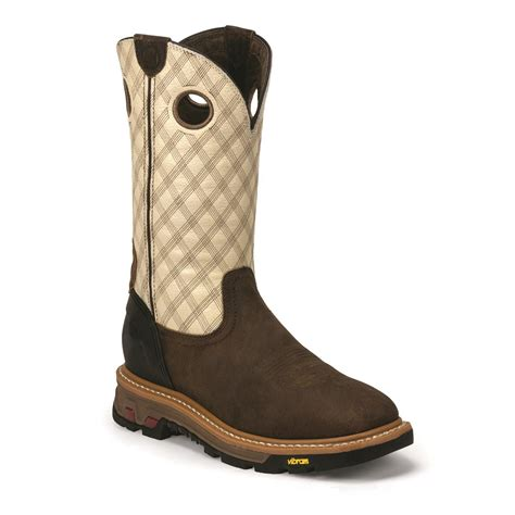 justin pull on work boots justin s commander x5 11 quot square toe pull on work