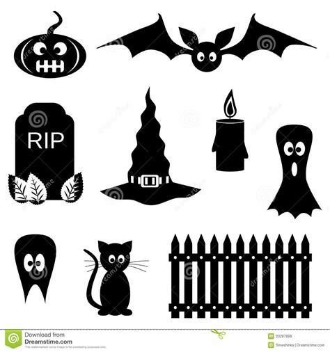 black  white halloween symbols stock vector image