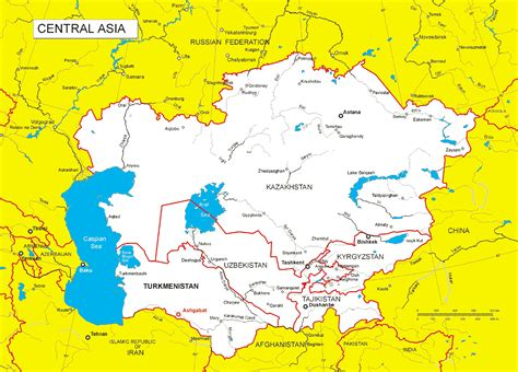 map of central asia central asia maps