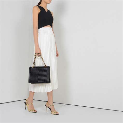 fashion 2015 charles keith brand black chains handbag shoulder bag ck bag tote messenger