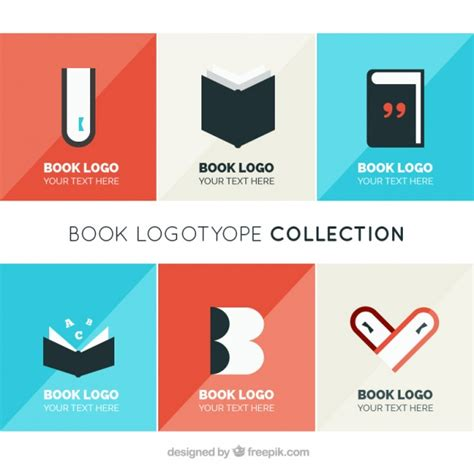 libro logo design love a collection of logos of books in flat design vector free download