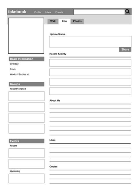 social media fakebook profile template by drama trunk