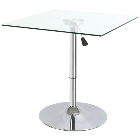 Glass Bistro Table Square Adjustable Clear Glass Bistro Dining Table Cafe High Breakfast Bar Ebay