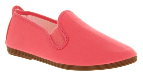 womens flossy elastic bright pink canvas casual deck shoes