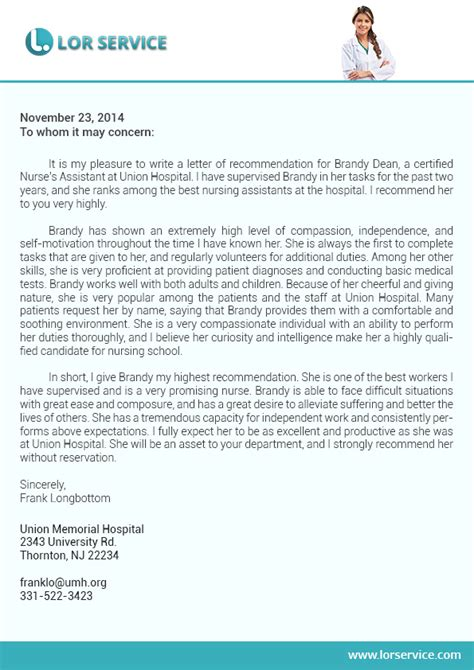 letter of recommendation for nursing school writing service