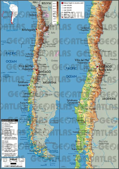 physical map of chile geography chile and climate change